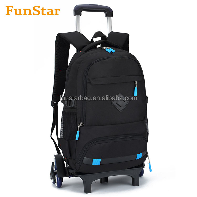 Heavy Duty Travel Rolling Backpack Trolley Best Quality Kids School Book Bags With Removable Wheels Bag Wheeled