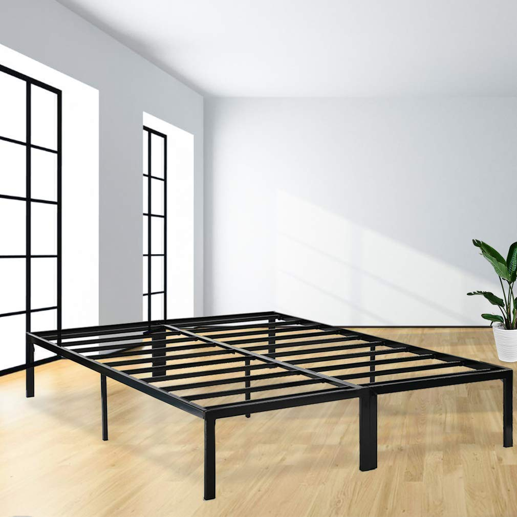 Bed Frame Platform Bed Frame Full Metal Base Mattress Foundation Frame 14 Inch Portable Heavy Duty Steel Replaces Box Spring with Black