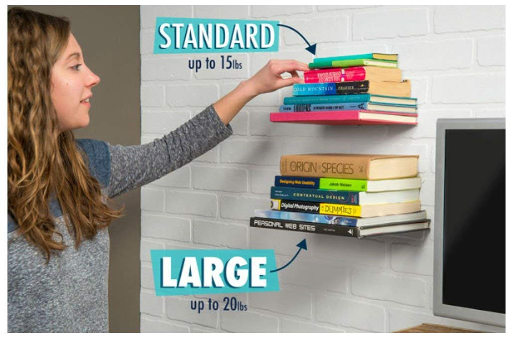 Invisible Floating Bookshelf Conceal Books Holder Wall Mount (STANDARD)