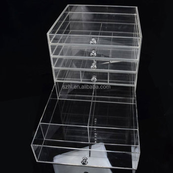 Acrylic Clear Makeup Organiser Cosmetic Storage Drawers Jewellery Box