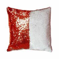 Rubysub P-14D Hot Sale Custom Red + White Flip Sequin Pillow Case Cover Sublimation Printing Cushion Pillow Case Cover
