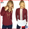 Crimson and Cream Vintage Embroider Top Wholesale Lady Blouse