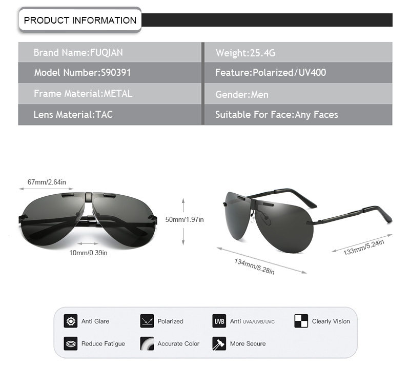 Fuqian folding sunglasses for business for driving-9