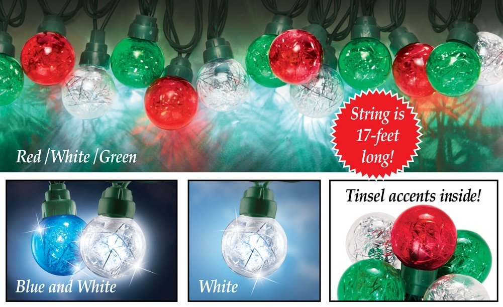 LED Tinsel Globe String Holiday Lights, Red/White/Green
