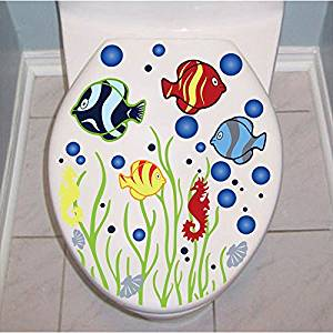 Funnytoday365 Underwater World Bubble Fish Toilet Bathroom Waterproof Sticker Home Decor Refrigerator Wall Decals