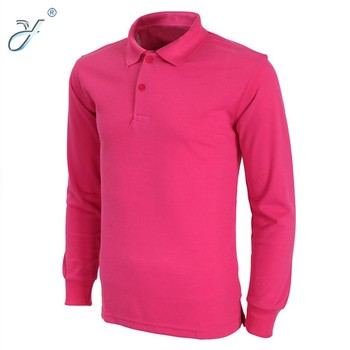 a2784951 2017 Fashion Cotton Pink Men's Long Sleeve Polo Shirt Workwear ...