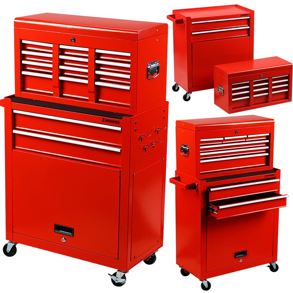 Get Quotations · Händewerk Portable Top Chest Tool Storage Box Cabinet  Sliding Drawers 2pcs Rolling Toolbox Organizer