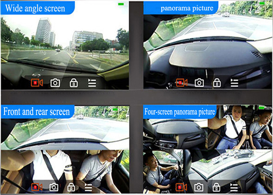 5'' IPS screen 360 degree view car camera system car dvr parking monitor panoramic rearview mirror camera