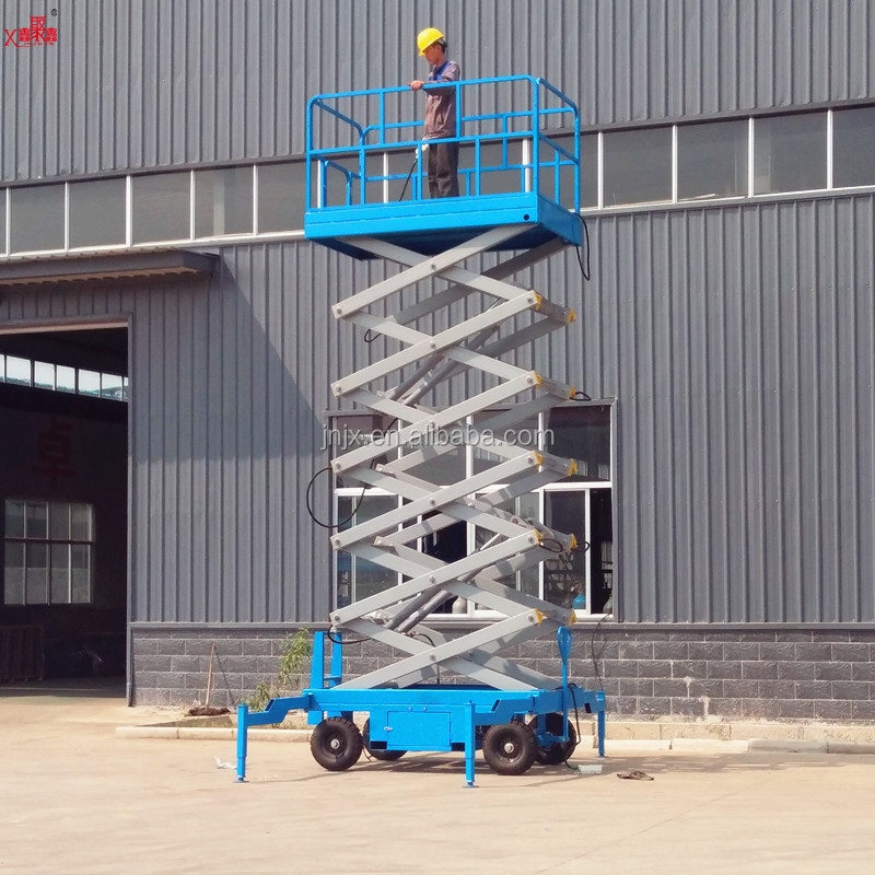 300kg adjustable 6-18m height movable portable hydraulic manual mobile scissor ladder lift working platform with CE ISO