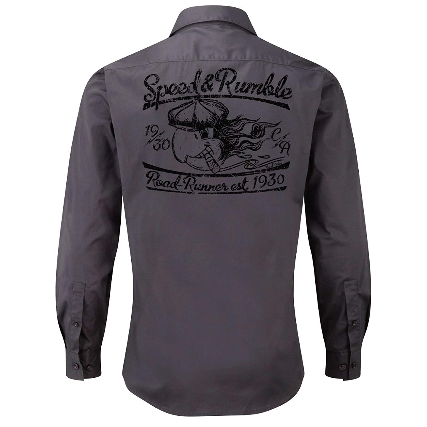 Rockabilly,Mechanic Work Shirt, Longsleeve, Rock'n'Roll, Parrot, V8, US Car, Speed and Rumble (Grey)