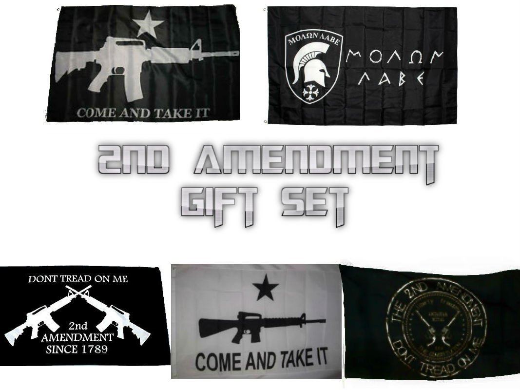 Wholesale Lot 2nd Amendment Gift Set NRA O, Don't Tread On Me Crossed Rifles, Molon Labe, White Come and Take It, and Black Come and Take It 3'x5' Polyester Flags