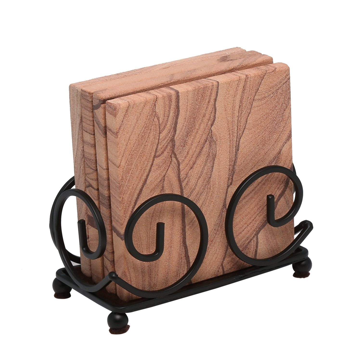 Thirstystone Sandstone Coasters with Wrought Iron Holder Included, Multicolor