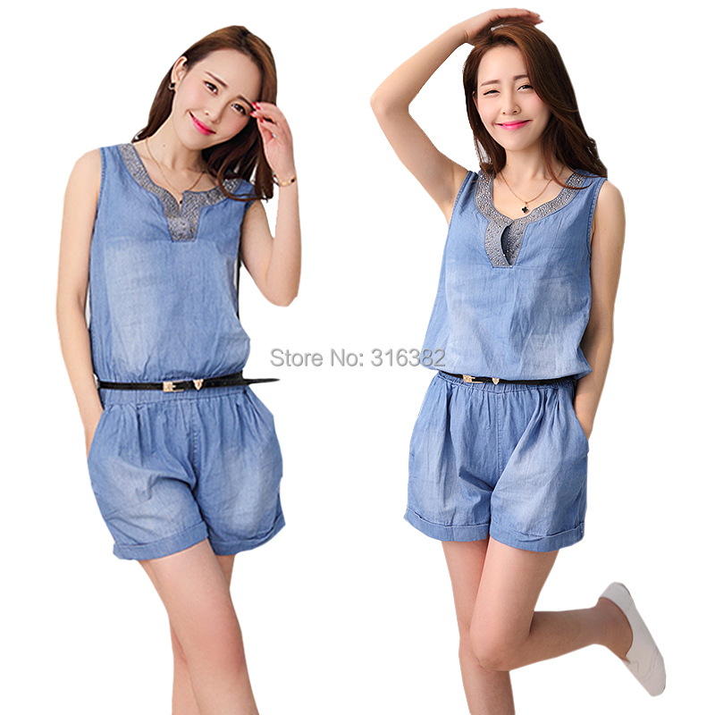 73571533d128 Get Quotations · Women Shiny Fashion Sleeveless Denim Overall Shorts Jean  Jumpsuits Romper FN716