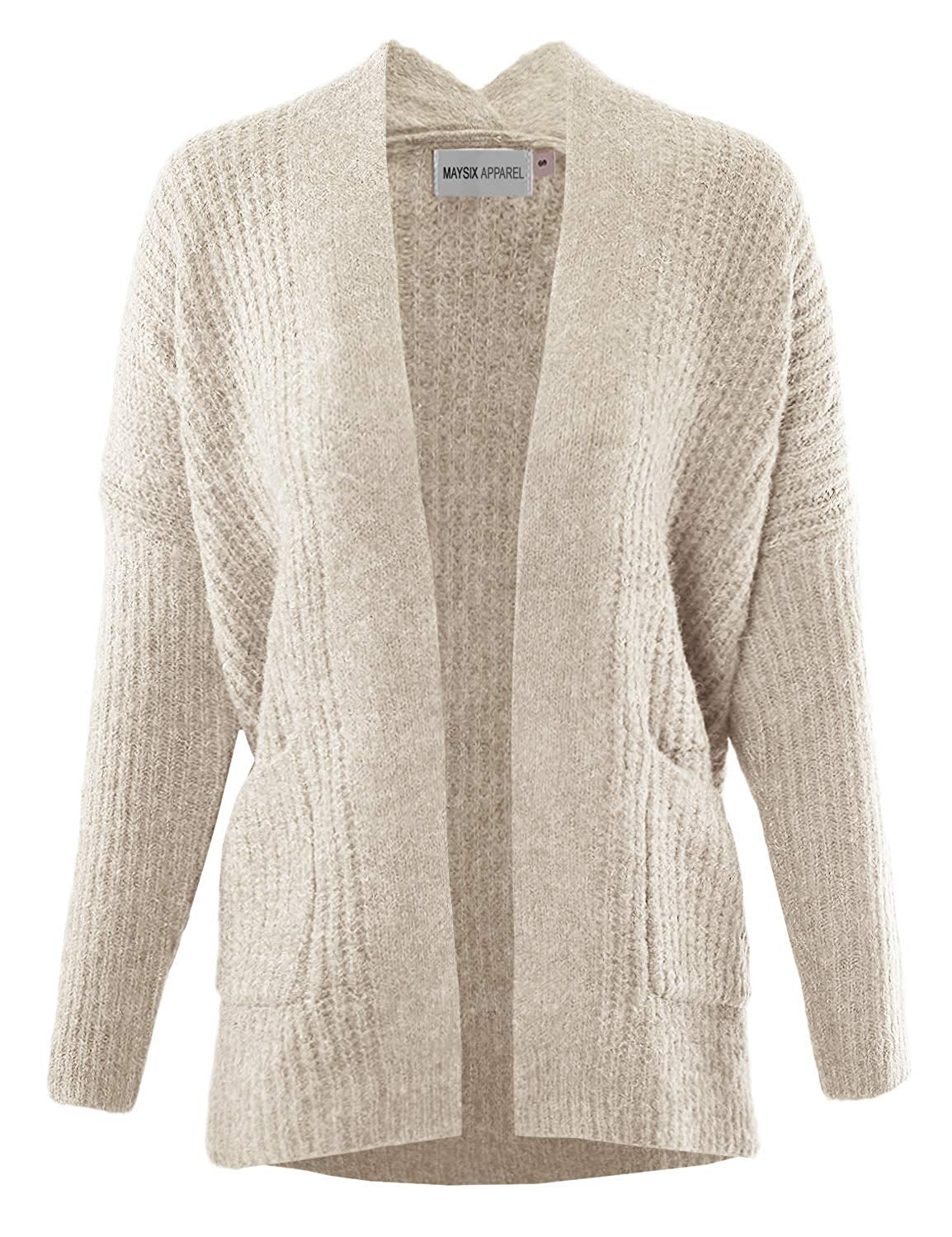 MAYSIX APPAREL Women Casual Cotton Cable Knit Open Sweater Long Sleeve Chunky Cardigan W/Pocket