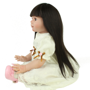 NPK DOLL Customized Reborn Toddler Doll Long Straight Wig Look Real Silicone Reborn Baby 24inches Toddler
