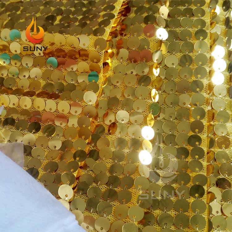 9 Mm Besar Emas Glitter Payet Kain untuk Gaun Pesta