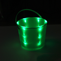 cheap plastic halloween orange color LED buckets with handle