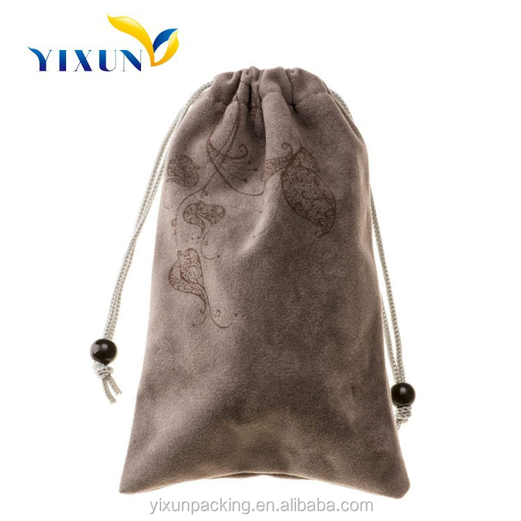 Wholesale luxury logo printed custom drawstring leather jewelry pouch/bag