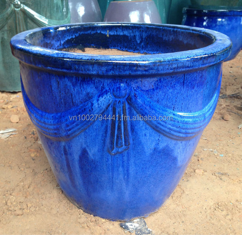 [wholesale] Outdoor Glazed Ceramic Pot - Green Glazed Planters - Large Blue  Ceramic Pots - Vietnam Pottery Manufacturer - Buy Ceramic Flower Pots