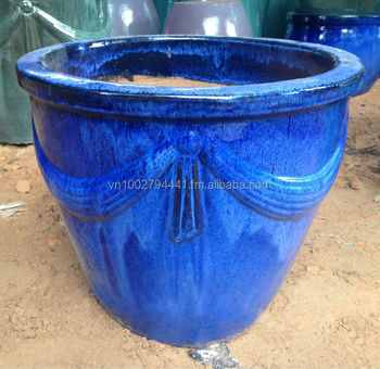 wholesale outdoor glazed ceramic pot green glazed planters large blue ceramic pots - Large Ceramic Planters