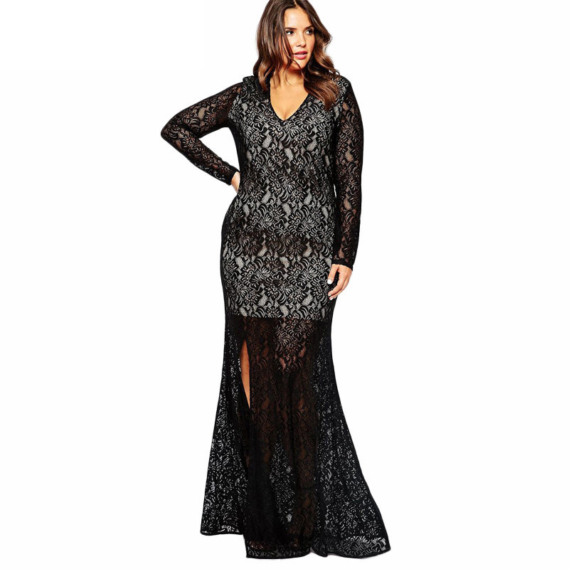 Womens Illusion Floral Lace Mademoiselle Dress Long Sleeves Plus
