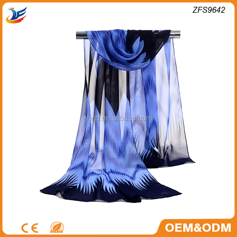 digital printed 100% polyester silk feel scarf chevron silk shawls