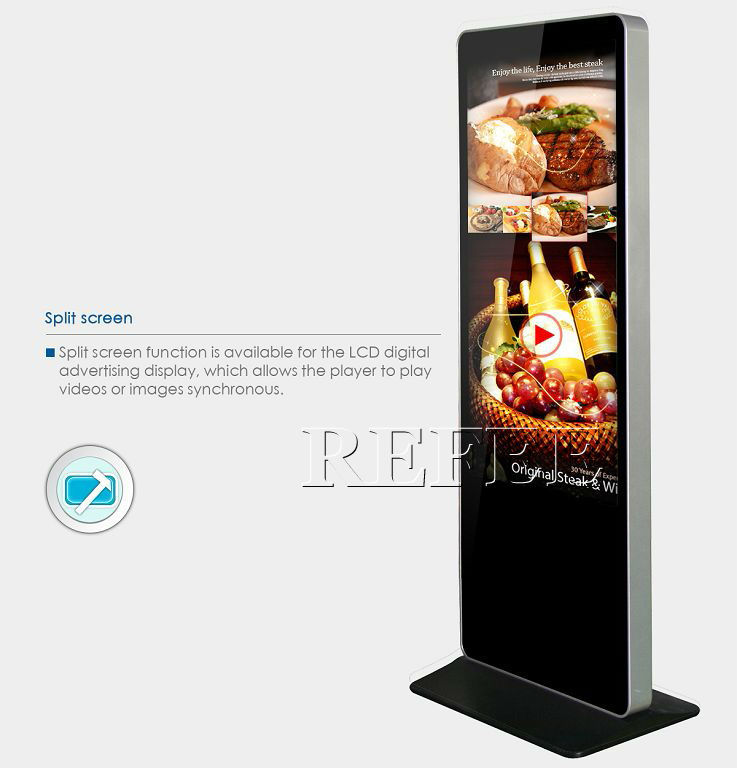 42 55 Inch Floor Standing Digital Signage Vertical Display
