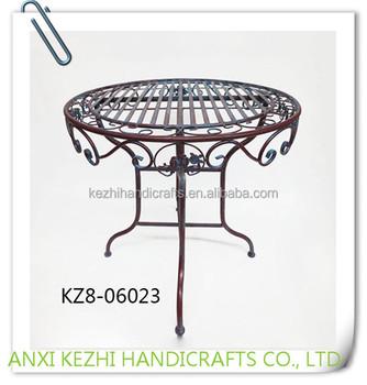 KZ8 06023 Ancient Portable Wrought Iron Metal Bar Cafe Table