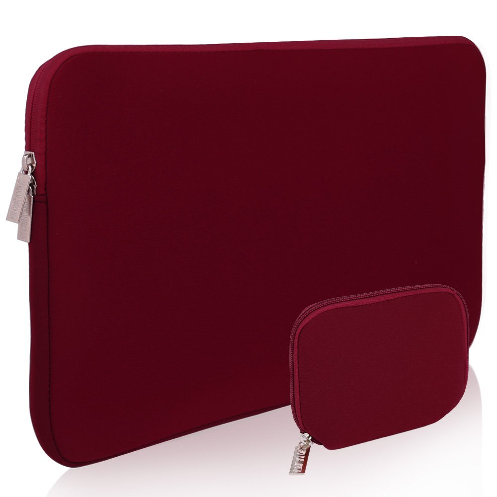 Laptop Sleeve Case,Armor Wear 15 15.6-Inch Laptop Briefcase Neoprene Protective Sleeve Case With Accessory Sleeve Case for 15 15.6-Inch Laptop,Chromebook,Ultrabook,Macbook,Netbook,Wine Red