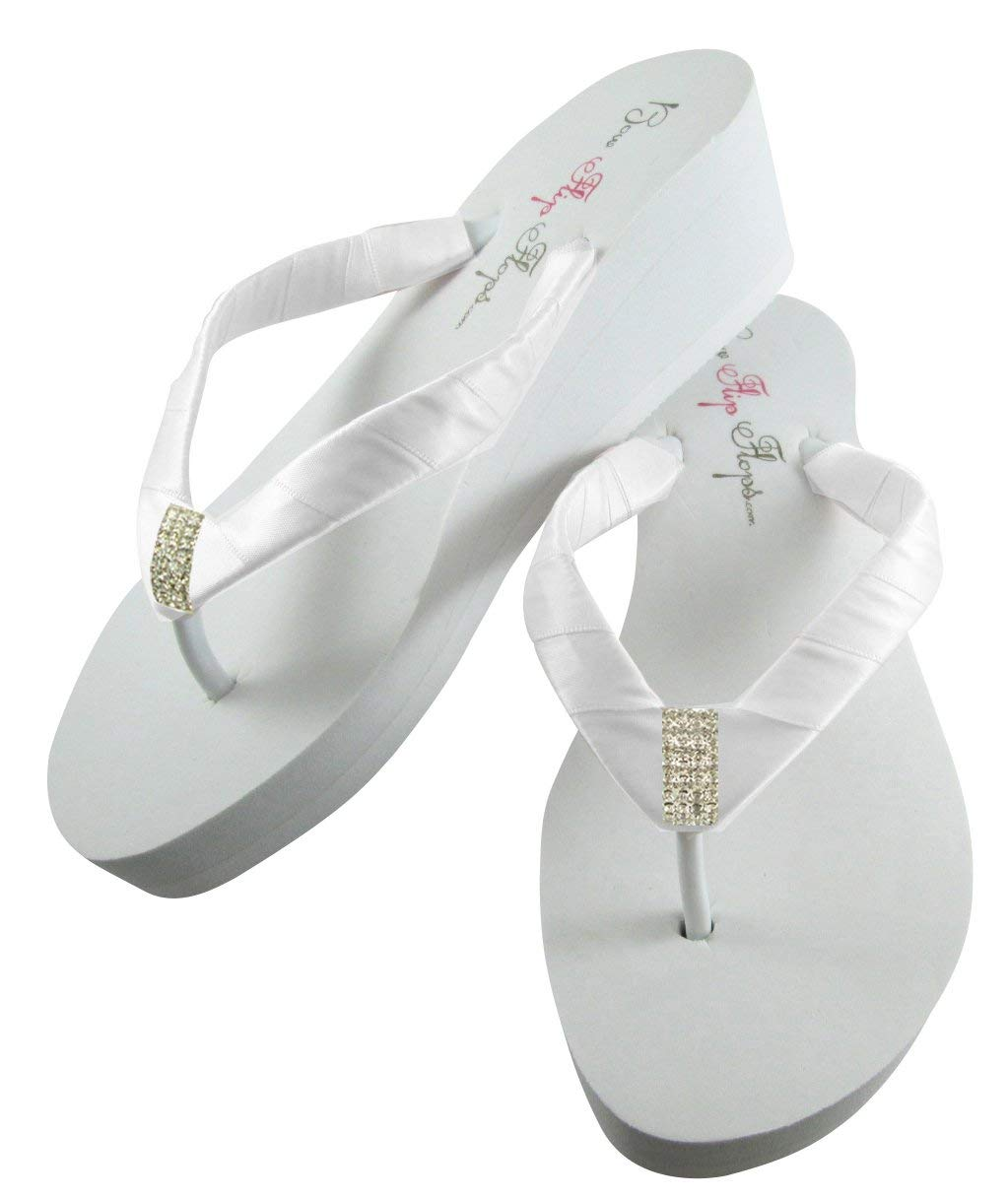 790beb17cab5 Get Quotations · White or Ivory Emerald Cut 2 inch Wedge Wedding Flip Flops