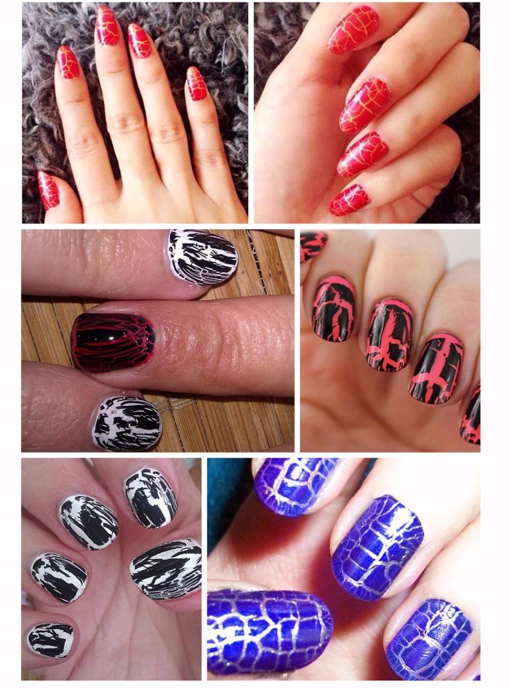Crack Effect Uv Gel Nails Special Texture Nail Art Designs Soak Off ...