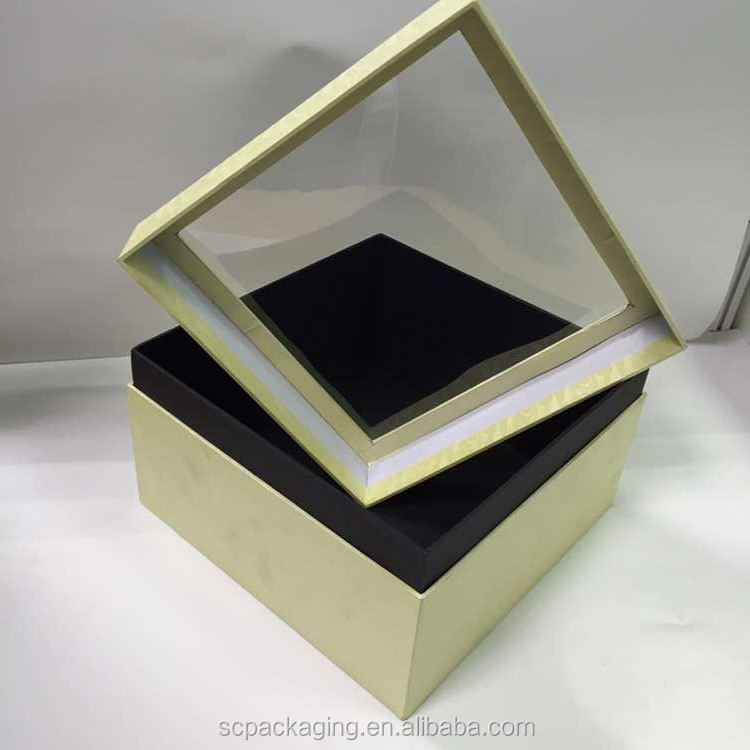 Top quality square cardboard flower gift box with clear window