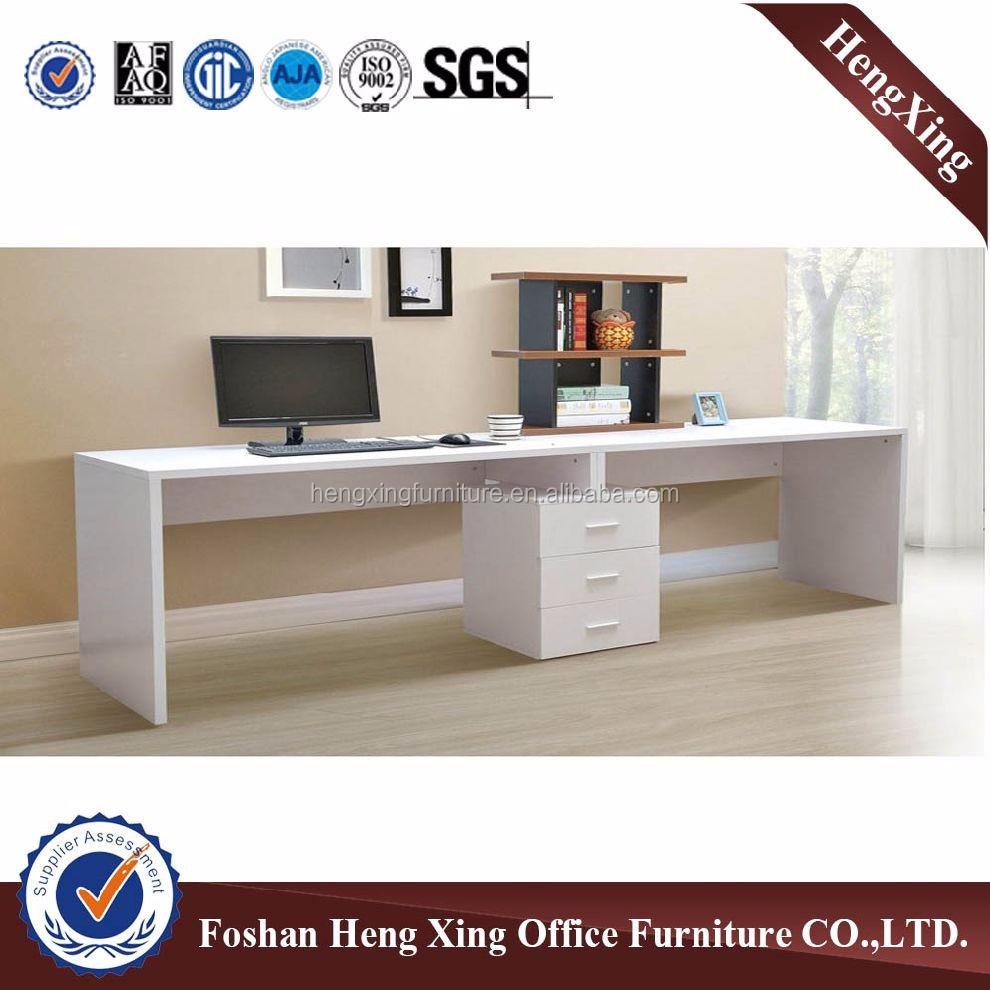 Blanco oficina del hogar tamaño largo 2 asiento mesa de ordenador ...