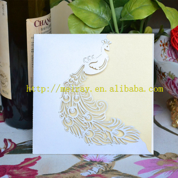 peacock wedding favors handmade new year cards laser cut place card for wine