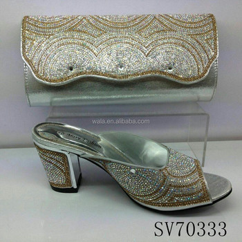 Sv70333 1 Silver White Sequins Italy Shoes And Bag Set
