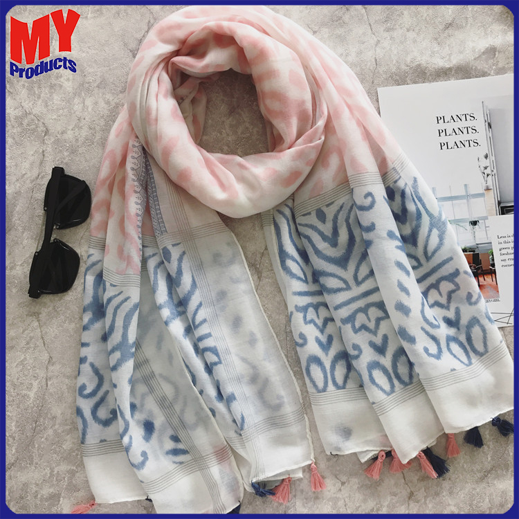 Scarf china free shipping cross print scarf fabric hijab with stone