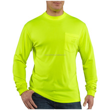 100%polyester jersey neon yellow o-neck mens long sleeve t shirt with pocket