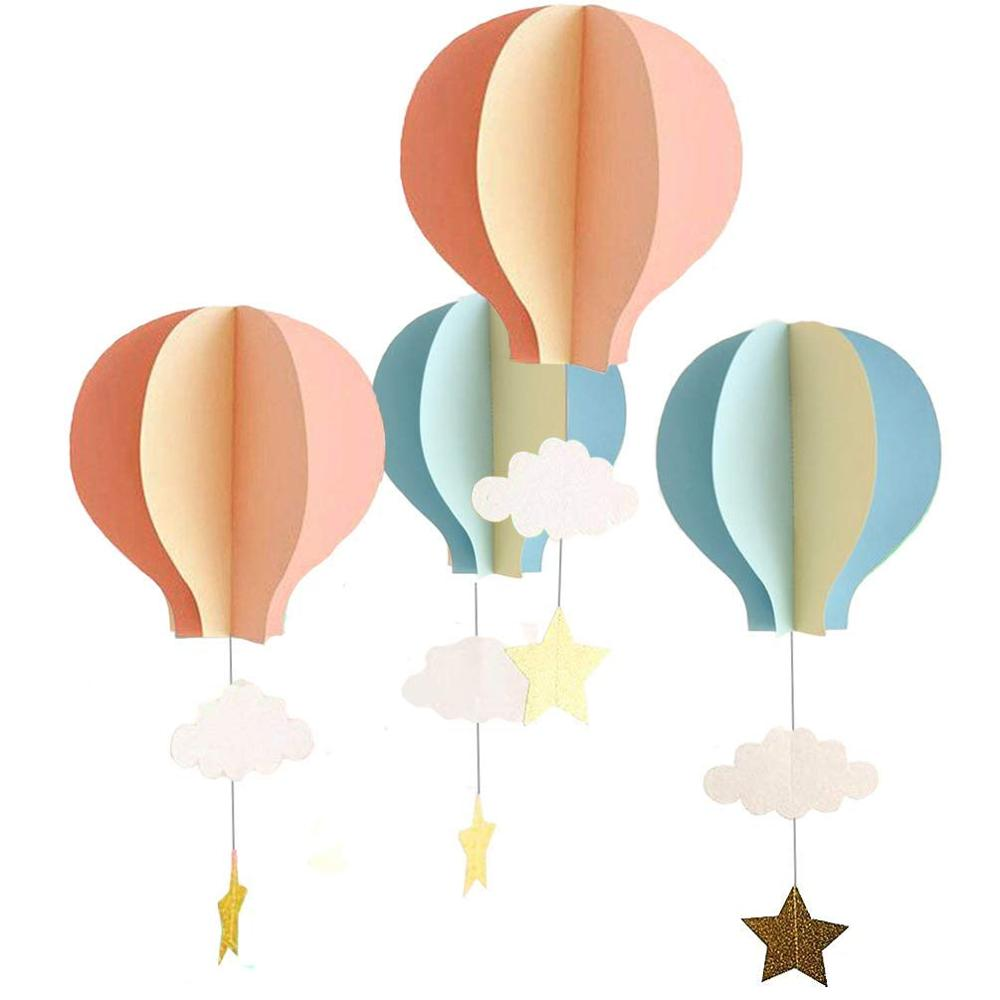 Umiss 8 Pcs Large Size Hot Air Balloon 3D Paper Garland Hanging Decorations for Room, <strong>Wedding</strong>, Baby Shower, Birthday Party
