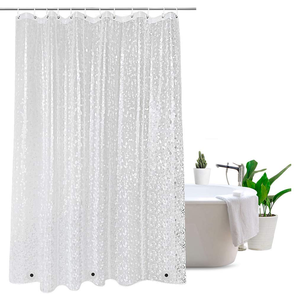 Water Repellent Bathroom Curtain Water Cube with Magnetic Weights Semi Transpartent UFRIDAY Clear Shower Curtain EVA 72 x 72 inches