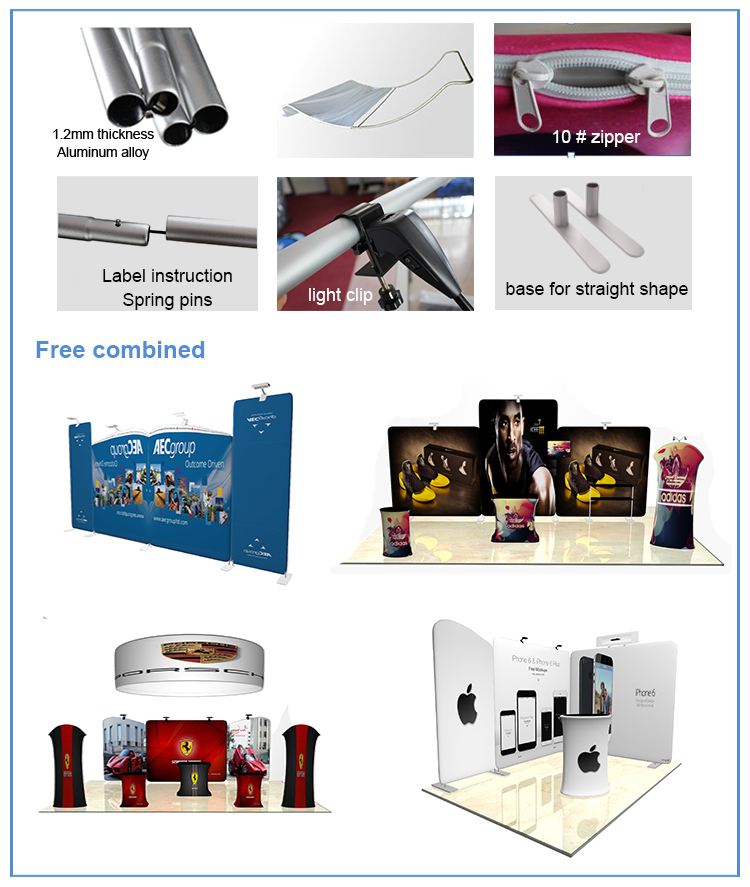 Straight /Cuverd Shape Advertising Pop Up Tension Fabric Display Banner