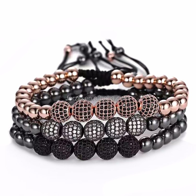BC1025 Natural hematite stone beaded bracelet for men,adjustable gemstone bracelets with cubic zirconia bead