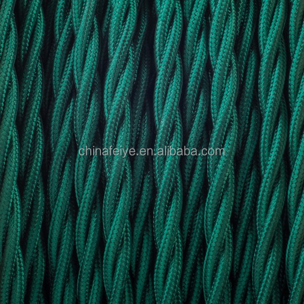 Green/Vintage Lamp Cable Cloth Covered Twisted Rayon Cord