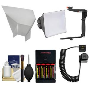 Essentials Bundle for Nikon SB-500, SB-700, SB-910 & SB-5000 AF Speedlight Flashes with Batteries/Charger + Soft Box + Bounce Diffuser + Bracket Kit