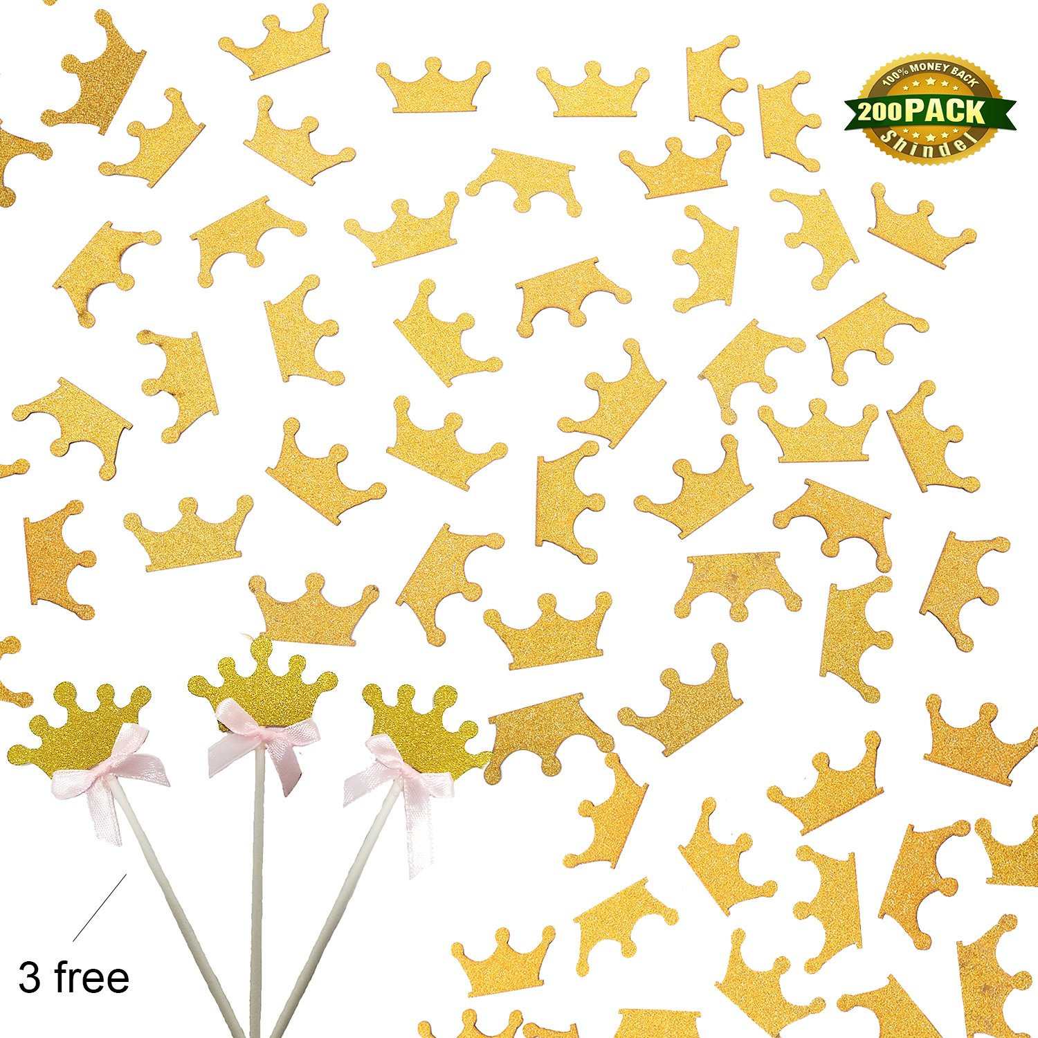 Confetti Gold Glitter Crown, Royal Prince Birthday Party Supplies Tiara Confetti & Cupcake Toppers For Birthday Party Baby Shower, 200 PCS
