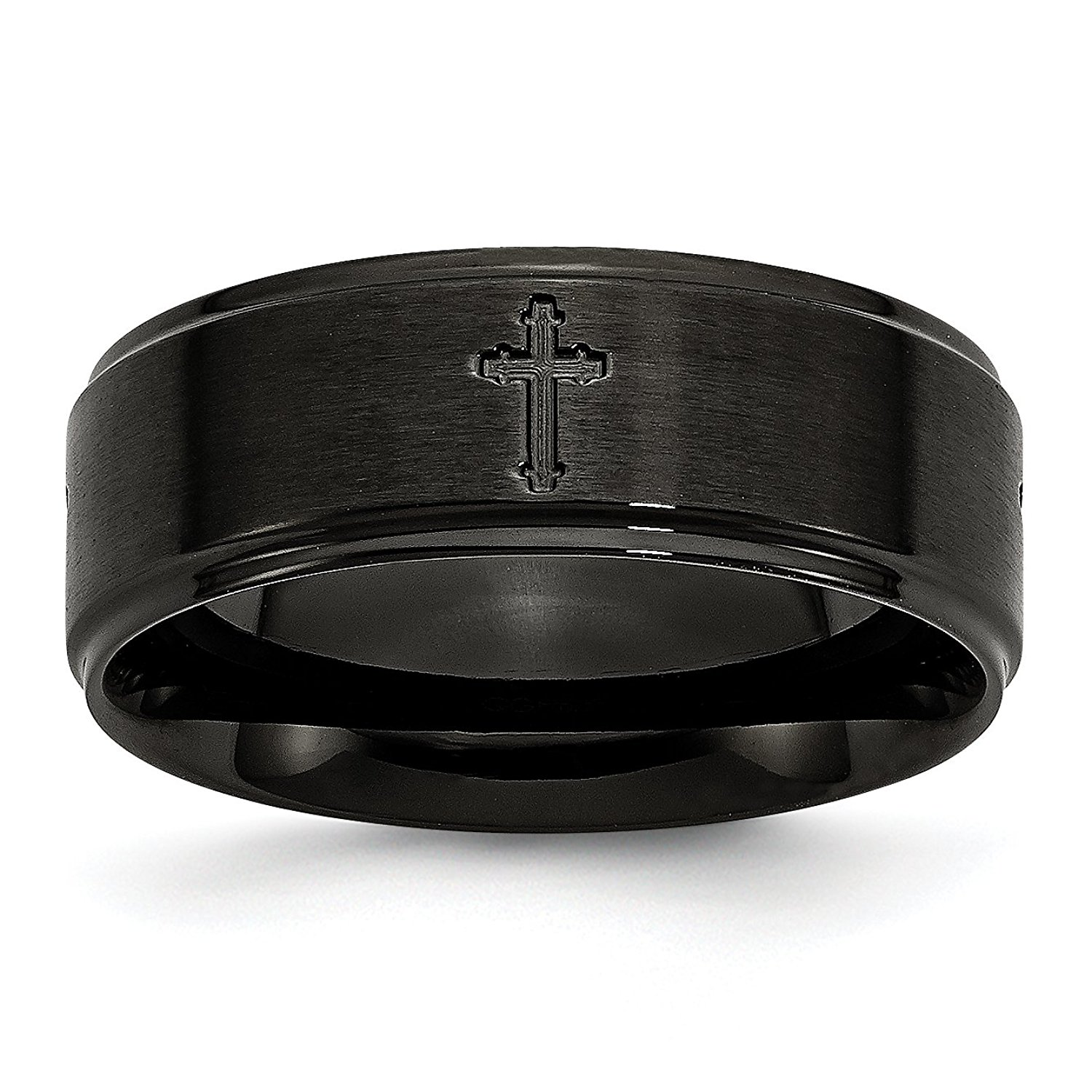 Stainless Steel 8mm Brushed/Polished Cross Cut-Out Black IP-plated Band SR335-11.5<BR>Engravable | Stainless Steel | Cut-out | Brushed | Flat Band | Cross | IP black-plated | Ridged edge