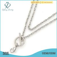 New toggle clasp double chain,316l stainless steel floating locket chain necklace design