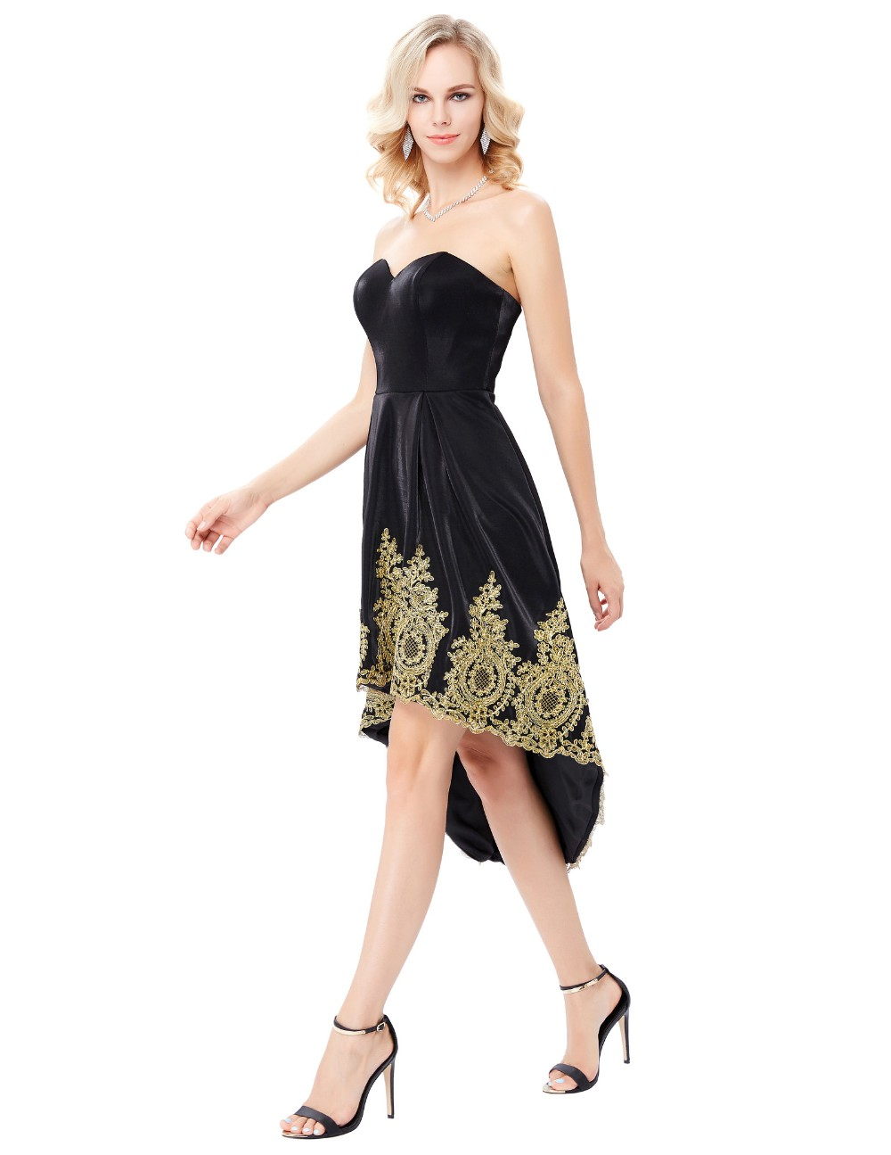 Grace Karin Strapless Sweetheart High-Low Appliqued Flannelette Black Party Dress Homecoming Dress GK000136-1