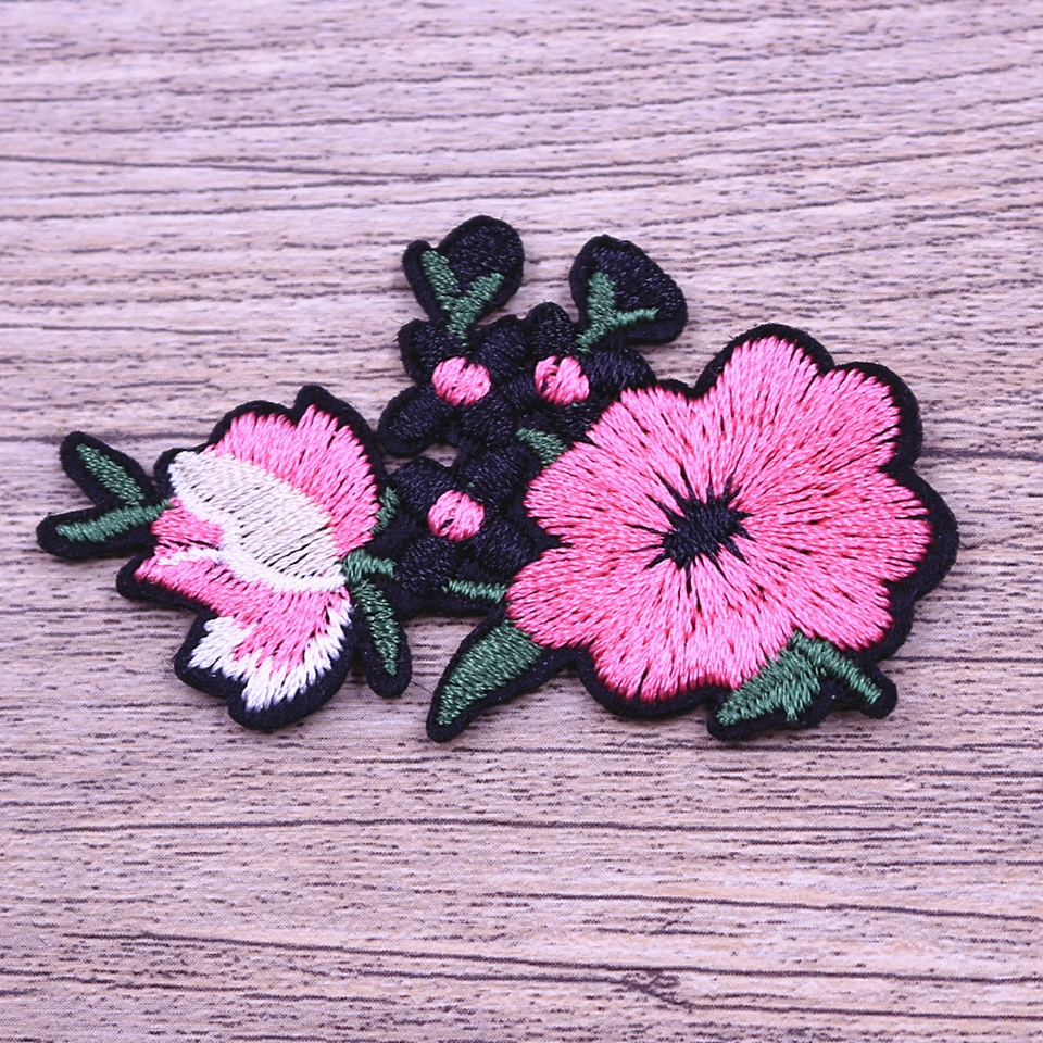 Flower adhesive iron on embroidery patch
