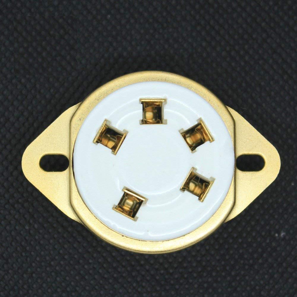 10pcs 5pin Gold Ceramic Tube Sockets for 807 Valve 5-21 US Style Base Audio AMP
