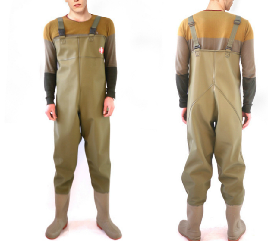 China wholesale price durable pvc coated knitted woven fabric chest high fishermen waders waterproof work wear